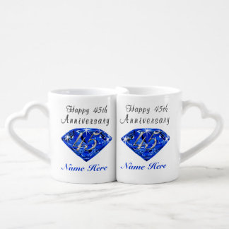 Personalized Sapphire Anniversary Gift Ideas Coffee Mug Set