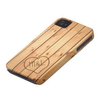 Personalized Sauna Wood Panels w/ Heart & Initials iPhone 4 Case-Mate Cases