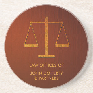 Personalized Scales of Justice   Elegant Coaster
