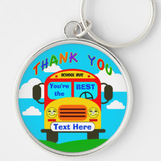 Personalized School Bus Driver Gifts Cheerful Keyc Silver-Colored Round Key Ring