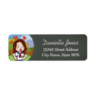 Personalized School Girl Return Address Label