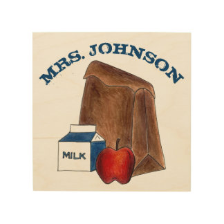 Personalized School Lunch Teacher Education Gift Wood Wall Art