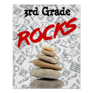 "Personalized Schoolroom Poster - 3rd Grade ""Rocks"""