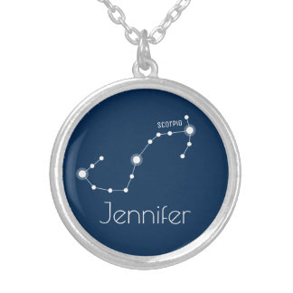 Personalized Scorpio Zodiac Constellation Silver Plated Necklace