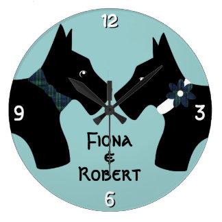 Personalized Scottie Dog Couple Round Wall Clocks