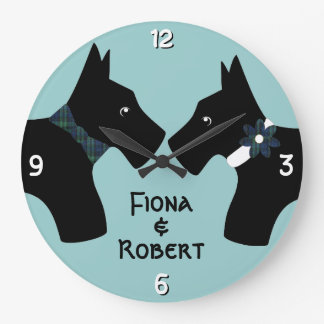 Personalized Scottie Dog Couple Large Clock