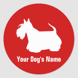 Personalized Scottish Terrier スコティッシュ・テリア Round Sticker