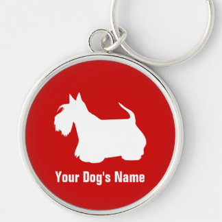 Personalized Scottish Terrier スコティッシュ・テリア Silver-Colored Round Key Ring