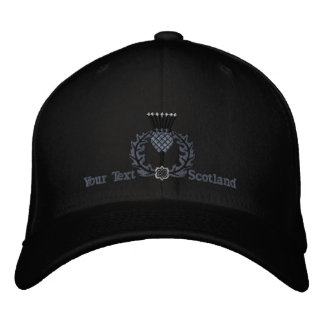Personalized Scottish Thistle Scotland in Black Embroidered Cap