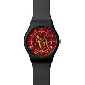 Personalized Script Ava Gold on Red Fleur de Lys Watches