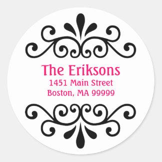 Personalized Scroll Address Labels Round Sticker