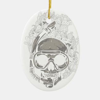 Personalized Scuba Diver Skull Ornament