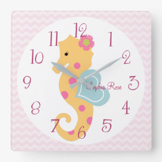 Personalized Sea Sweeties Seahorse Nursery Clock