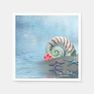 Personalized Seashells Wedding Napkins Paper Napkin
