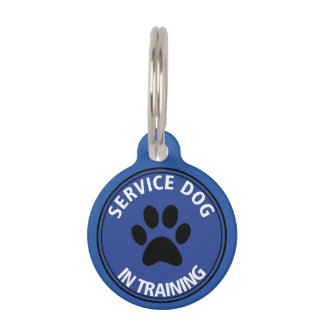 Personalized Service Dog In Training Blue Pet Tag