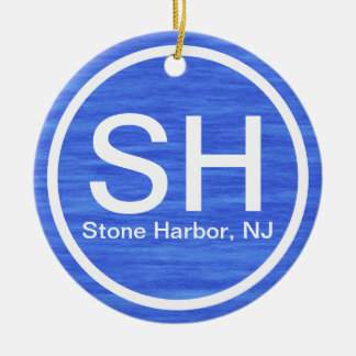 Personalized SH NJ Stone Harbor New Jersey Beach Christmas Ornament