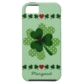 Personalized Shamrock and Four Leaf Clover iPhone 5 Case