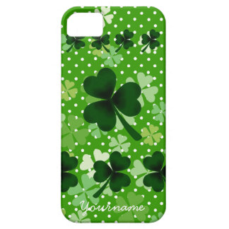 Personalized Shamrock and Polka Dot Barely There iPhone 5 Case