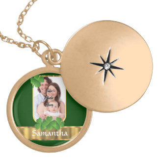 Personalized shamrock locket necklace