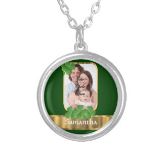 Personalized shamrock silver plated necklace