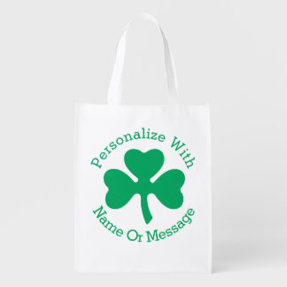 PERSONALIZED Shamrock St Patricks Day Reusable Grocery Bag