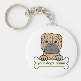 Personalized Shar-Pei Key Ring