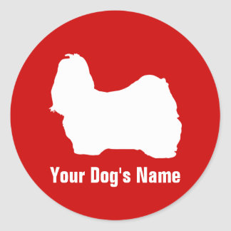 Personalized Shih Tzu シー・ズー Round Sticker