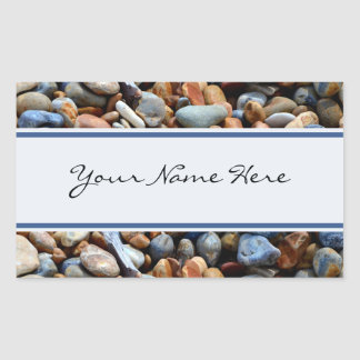 Personalized Shiny Beach Pebbles Rectangular Sticker