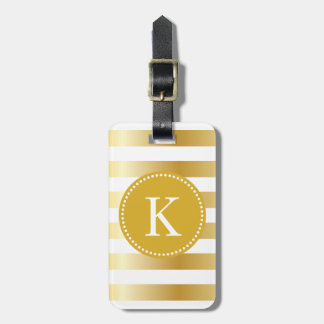 Personalized Shiny Gold Stripes Pattern Luggage Tag
