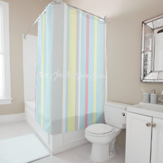 Personalized Shower Sensation Pastel Curtain