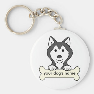 Personalized Siberian Husky Basic Round Button Key Ring