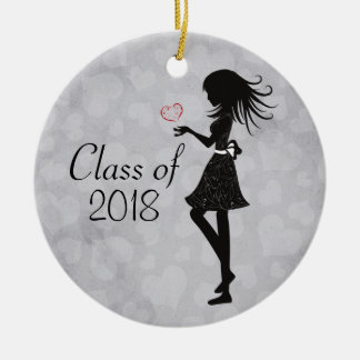 Personalized Silhouette Girl and Hearts Graduation Round Ceramic Decoration