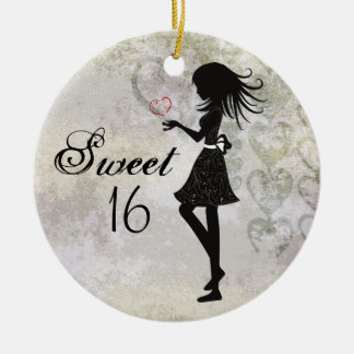 Personalized Silhouette Girl and Hearts Sweet 16 Christmas Ornament