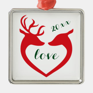 Personalized Silhouette Heart Deer Couple in Love Silver-Colored Square Decoration