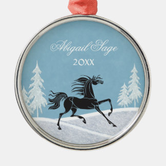 Personalized Silhouette Horse and Snow Ornament