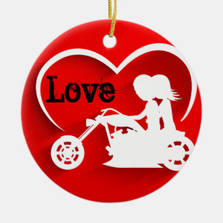 Personalized Silhouette Motorcycle Couple LOVE Round Ceramic Decoration