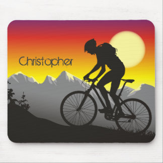 Personalized Silhouette Mountin Bike Mousepad