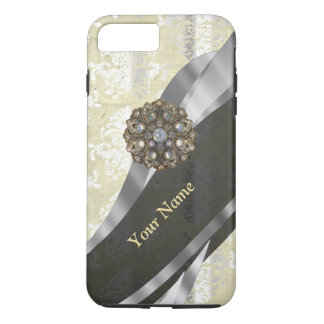 Personalized silver and white damask pattern iPhone 8 plus/7 plus case
