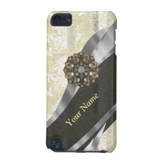Personalized silver and white damask pattern iPod touch 5G cover