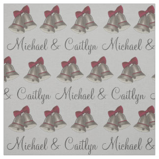 Personalized Silver Bells Wedding Bell Fabric