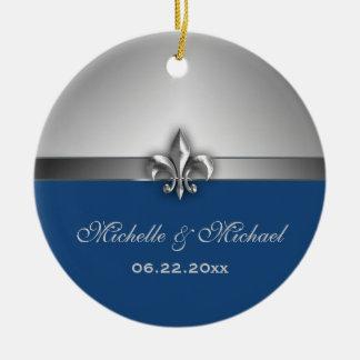 Personalized Silver Blue Fleur de Lis Christmas Ornament
