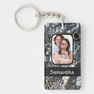 Personalized silver charm collage Double-Sided rectangular acrylic key ring