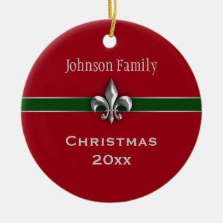 Personalized Silver Fleur de Lis Christmas Christmas Ornament