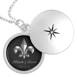 Personalized Silver Fleur de Lis Keepsake Round Locket Necklace