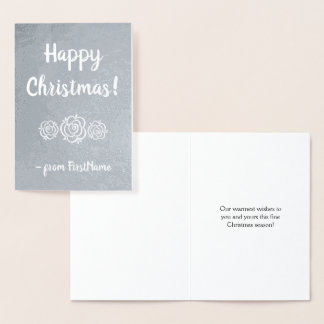 "Personalized Silver Foil ""Happy Christmas!"" Card"