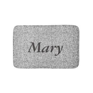 Personalized Silver Glitter Bath Mat