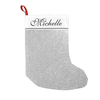 Personalized silver glitter Christmas stockings