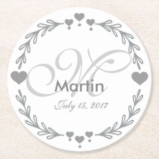Personalized Silver Heart Wedding Favor Coasters Round Paper Coaster
