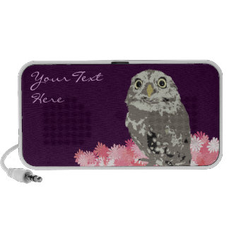 Personalized Silver Owl with Flowers Doodle Mp3 Speaker