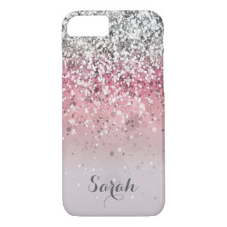 personalized silver pink glitter iphone case